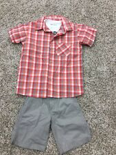 Boys Boyz Wear By Nannette T-Shirt, Button Up Shirt, Tan Khaki Short Set Size 7