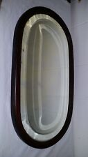 "Vintage 23 5/8"" x 13 1/2"" Oval Mahogany Wood Frame Beveled Glass Mirror"