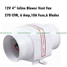 "4"" In Line Blower 12V Boat Bilge Galley Heads Engine Ventilation Marine Fan vv"