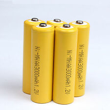 5Pcs AA 2A 3000mAh 1.2 V Ni-MH rechargeable battery Yellow Color For cell MP3 RC