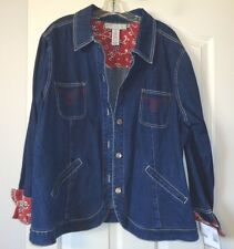 NWT $50 SAG HARBOR SPORT WOMAN DENIM RED PAISLEY LINED STRETCH JACKET 22W