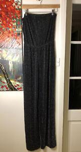 Boohoo Size 16 Beth Strapless Wide Leg Black Sparkle Jumpsuit. NWT