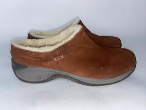 Merrell Suede Womens Snow Shoes Slides Sz 10 Brown Shearling Lined (F)