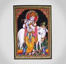 Indian Wall Hanging Mandala Tapestry Lord hare Krishna Poster Vintage Art Decor