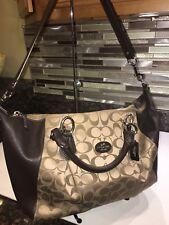 Coach 33804 Madison Colette Signature Shoulder Bag Khaki/Black Violet ~ VGC!