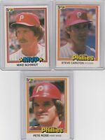 1981 Donruss Phillies Pete Rose Steve Carlton Mike Schmidt