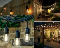 48 FT LED String Lights Outdoor Patio Yard Commercial Grade Waterproof 1W Bulbs