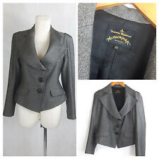 VIVIENNE WESTWOOD ANGLOMANIA Blazer Jacket Tweed Gray Fitted UK12/14 EU38/40