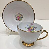 Collingwoods England Bone China Teacup & Saucer, Pedestal, Light Blue