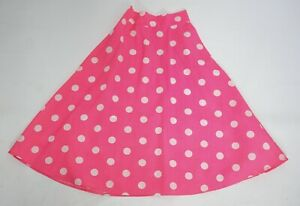 Girls 50's Bright Pink White Spotted Dotted Skirt Fancy Dress Costume Age 3-4
