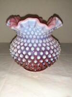 Vtg Fenton Cranberry Hobnail Ruffled Vase 5 Inch