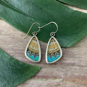 Handmade Butterfly Wing Drop Earrings Yellow Turquoise Blue Dangle Insect
