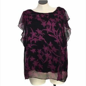 Vince Camuto Women's Black Chiffon Purple Floral Overlay Cami Blouse Size 3X