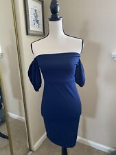 Windsor Store NWT Bodycon Off Shoulder Dress Dark Blue Small Short Sleeve