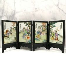 1982 Exquisite Fen Cai Eighteen Arhats folding porcelain board 1982年十八罗汉粉彩瓷屏风板