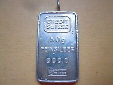 CREDIT SUISSE 50 GRAM SILVER INGOT BAR,FEINSILBER .999 1.6 TROY OUNCES,LOOP,