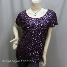 Chic Sequined Embroidery Fashion Blouse Top Purple M~L