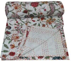 Indian Handmade Kantha Bedding Bedspread Quilt Cotton Throw Floral Print Blanket