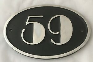 ART DECO HOUSE OVAL SIGN PLAQUE SOLID CAST METAL POLISHED ALUMINIUM HAND MADE