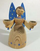 Vintage Angel Candle Holder Blue Wings Wooden Wood Two Candles 5.5""