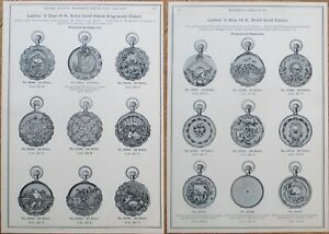 Gold Pocket Watch Cases Advertising/Print/Marshall Field 1893 Catalog Page