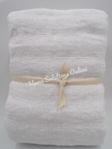 """Pottery Barn Teen Bamboo Carved Rib Towel Cotton Soft 28x 55"""" White #1547C"""