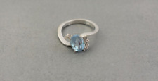 18 Carat White Solid Gold Blue Topaz and Diamond Ring 18 Ct Size R Weight 4.84 g