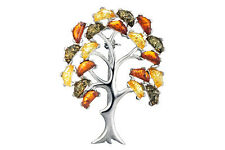 Sterling Silver 925 & Multi-Coloured Amber Tree Brooch Pendant Jewellery Jewelry