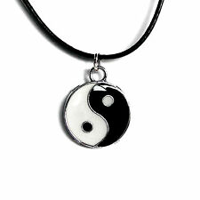 Yin Yang Lederkette Damen Herren Halsschmuck Kettenanhänger schwarz 45cm Mode