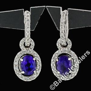 18k White Gold 3.80ct FINE Oval Cut Purple Amethyst Diamond Drop Dangle Earrings