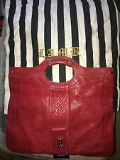 L.A.M.B. GWEN STEFANI RED LEATHER  CLUTCH PURSE CONVERTIBLE BAG TOTE