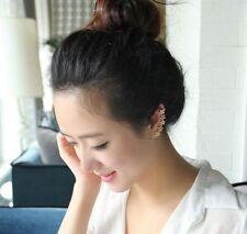 Crystal Star Flower Gold Ear Cuff Stud Earring Wrap Clip On Ear NO Piercing Need