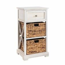 Table de nuit chevet 1 tiroir et 2 paniers bois paulownia blanc style campagne