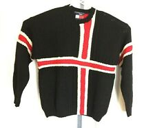 Tommy Hilfiger Xl Wool Red White Navy Blue Cross Sweater