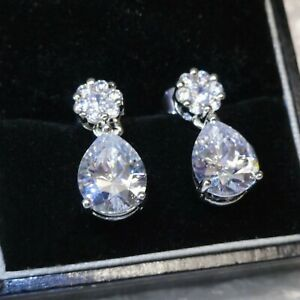 Simulated Diamonds Gold GF Drop Earrings  Made With Swarovski Crystals, BOXED