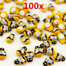 100x/set Bees Self Adhesive Ladybug 9x12mm Wooden Bumble Craft Card Toppers