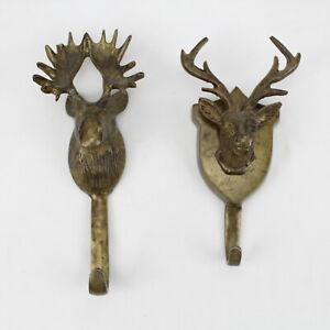 Moose & Deer Brass  Coat Hooks Lot of 2