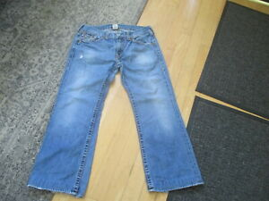 TRUE RELIGION  BILLY BIG T DISTRESSED BOOT CUT JEANS, SIZE 38 X31