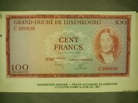 LUXEMBOURG 100 FRANCS P52 1963 *SPECIMEN* EURO UNC  BANK NOTE GRADABLE COND.!!!!