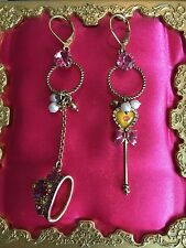 Betsey Johnson Vintage Varsity Crush Prom Tiara Crown Lip Wand Mismatch Earrings