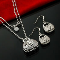 Handbag Pendant Necklace and Earrings Set 925 Sterling Silver NEW