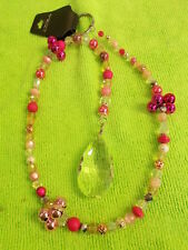 LOVELY SUN CATCHER - BIG CRYSTAL - PINK / CLEAR CRYSTALS - BELLS 64 cm # 293