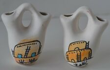 Vintage Mexican Hand Painted Pottery Water Jug Pot Lot of 2 Miniature