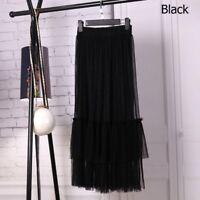 Lady Pleated Mesh Falbala Long Bubble Skirts Dancewear High Waist Ruffle Summer
