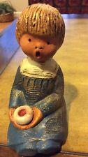Rare Blue Vintage Singing Angel Figurine Jullar Spain Terracotta Pottery Candle