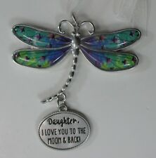 zzx Daughter I love you to the moon & back Delightful Dragonfly Message Ornament