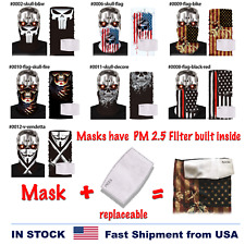 1 Face Balaclava [With Filter] Scarf Neck US Flag Bandana Sun Gaiter SPF40 sa