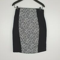 Cue In The City Women's Pencil Skirt Panelled Black White Size 10