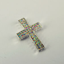 5pc Silver Plated AB Crystal Sideway Long CROSS Jewelry Connector Bracelet SC13
