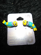 new front back yellow blue fish stud style earrings fashion jewelry trendy hunt